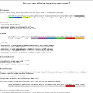 Document expliquant la lecture d'un tableau de charge de pompe immergée