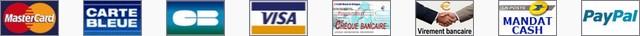 Les m�thodes de r�glement : carte bancaire (MasteCard, carte Bleue, Visa...), ch�que bancaire ou postal, virement bancaire, mandat cash, Paypal