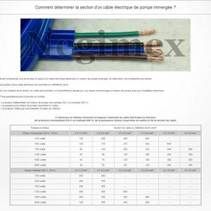 Comment déterminer la section d'un câble électrique de pompe immergée ?