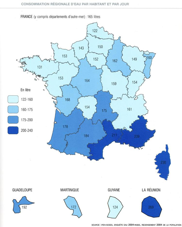 La consommation d'eau en France